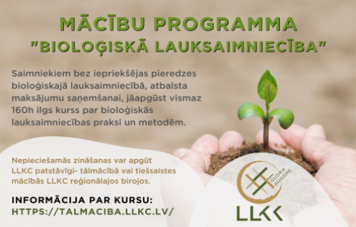 Mācības bioloģiskajā lauksaimniecībā – tiešsaistē un tālmācībā