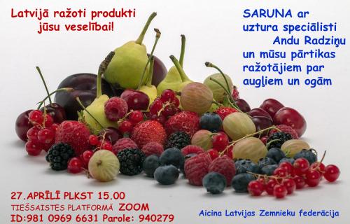Aicinām uz sarunu ar uztura speciālisti Andu Radziņu un mūsu pārtikas ražotājiem par augļiem un ogām